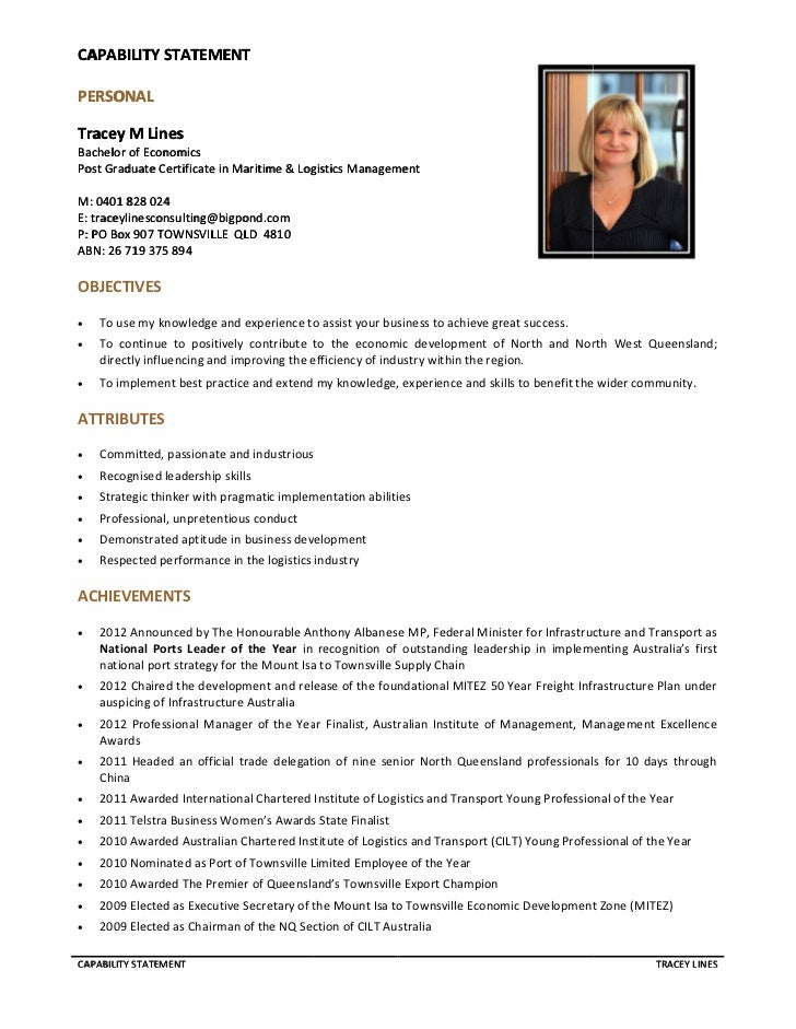 Tracey Lines Capability Statement Serptember 2012