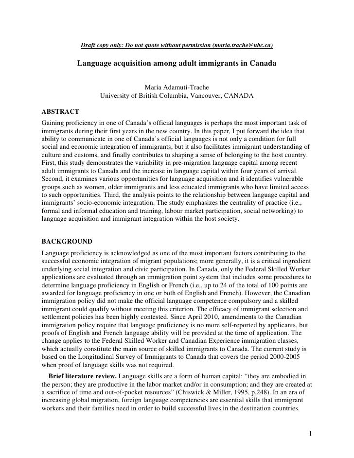 Draft copy only: Do not quote without permission (maria.trache@ubc.ca)             Language acquisition among adult immigr...