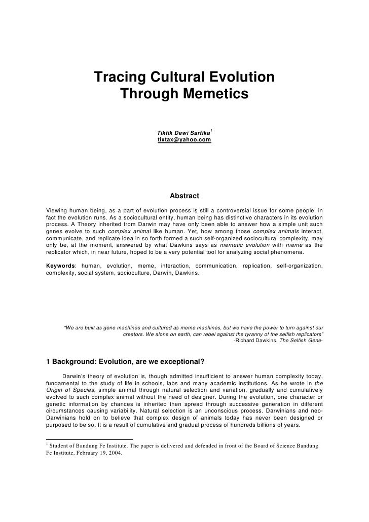 Tracing Cultural Evolution                       Through Memetics                                                Tiktik De...