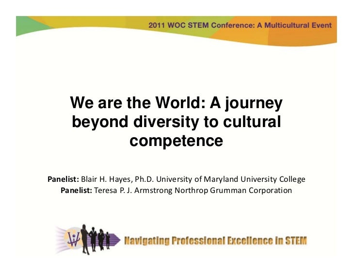 We are the World: A journey      beyond diversity to cultural              competencePanelist: BlairH.Hayes,Ph.D.Unive...