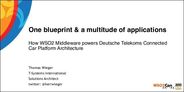 One blueprint & a multitude of applications! ! How WSO2 Middleware powers Deutsche Telekoms Connected Car Platform Archite...