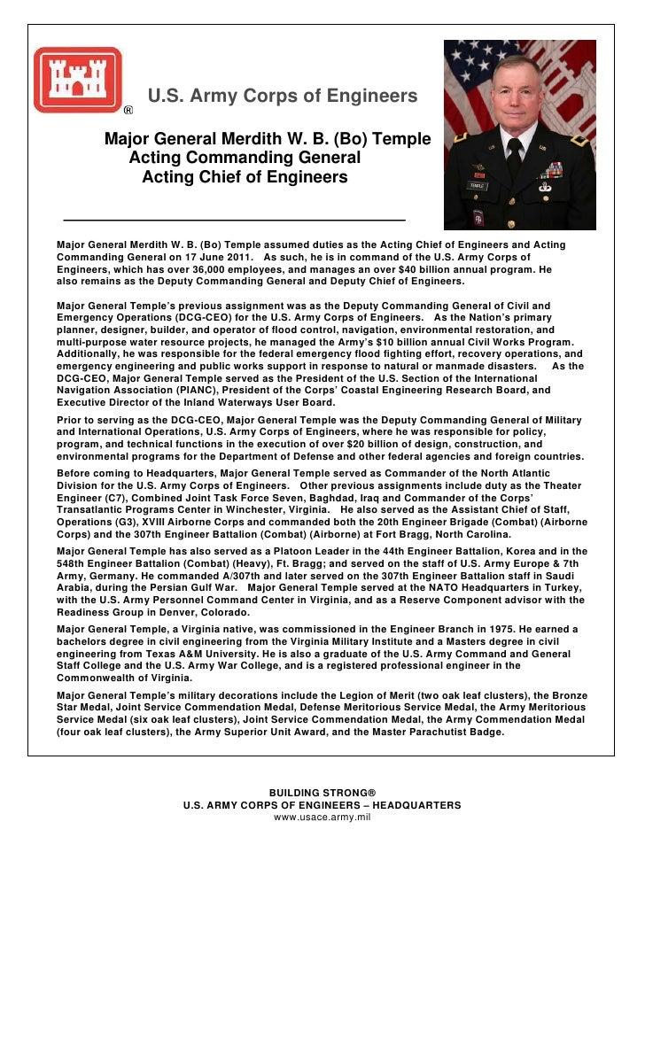 U.S. Army Corps of Engineers         Major General Merdith W. B. (Bo) Temple           Acting Commanding General          ...