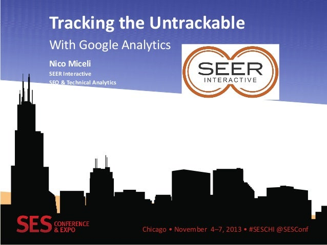 Tracking the Untrackable With Google Analytics Nico Miceli SEER Interactive SEO & Technical Analytics  Chicago • November ...