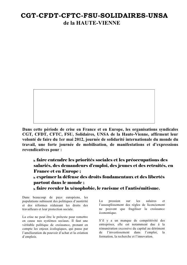 CGT-CFDT-CFTC-FSU-SOLIDAIRES-UNSA                             de la HAUTE-VIENNEDans cette période de crise en France et e...