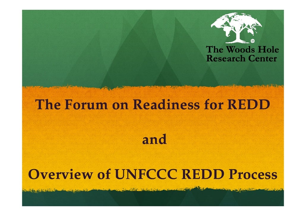 The Woods Hole                       Research Center    The Forum on Readiness for REDD                and  Overview of UN...
