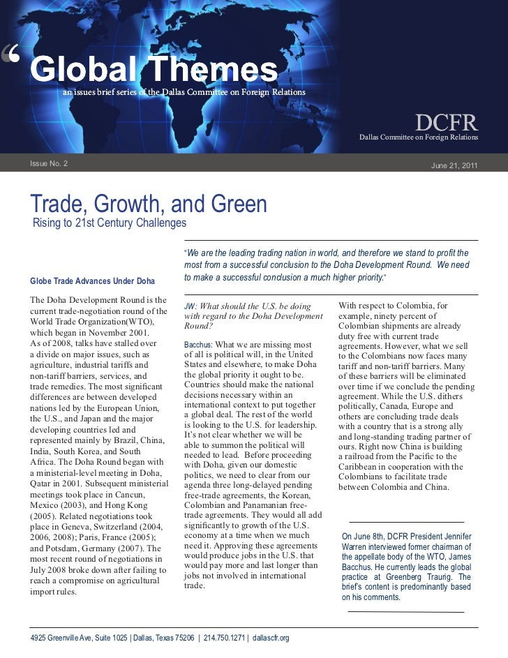 ''   Global Themes              an issues brief series of the Dallas Committee on Foreign Relations                       ...