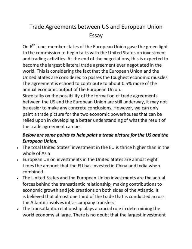 European Union Essay Topics