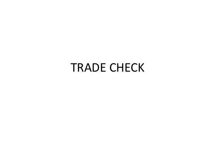 Trade Check Data - A Marketing Research Activity