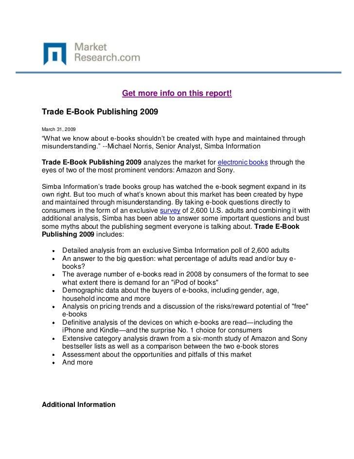 Trade e book publishing 2009