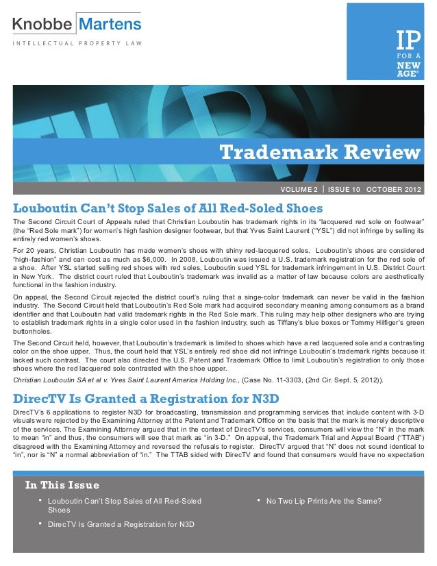 VOLUME 2 | ISSUE 3            MARCH 2012                                                                  Trademark Revie...