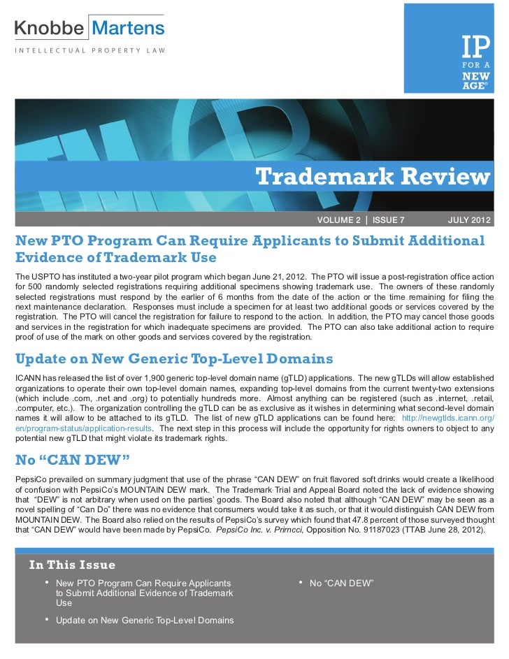 Trademark Review | July 2012