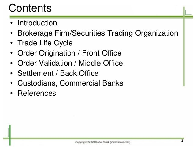 Securities trade life cycle - Derivatives middle office ...