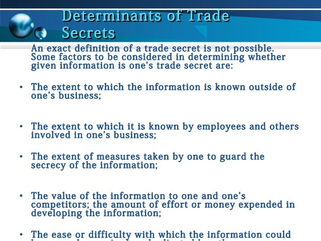 trade secrets essay Essays trade secrets: how well should we be allowed to hide them the economic espionage act of 1996 rochelle cooper dreyfuss the secret that i hide.