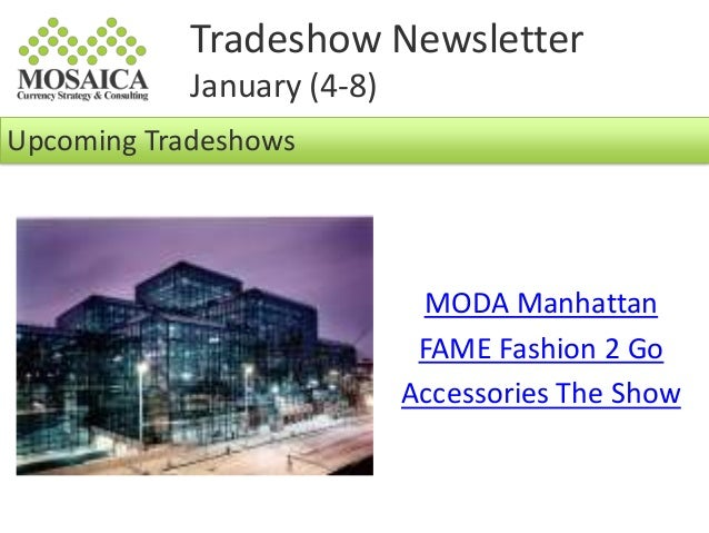 NYC Tradeshow Newsletter: January 4th - 8th