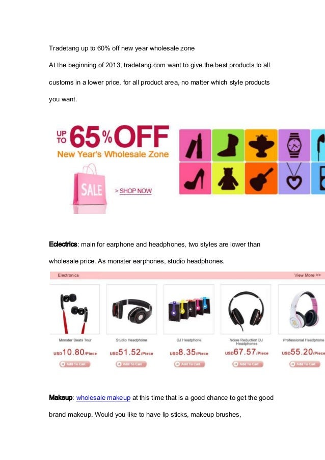 Tradetang up to 60% off new year wholesale zoneAt the beginning of 2013, tradetang.com want to give the best products to a...