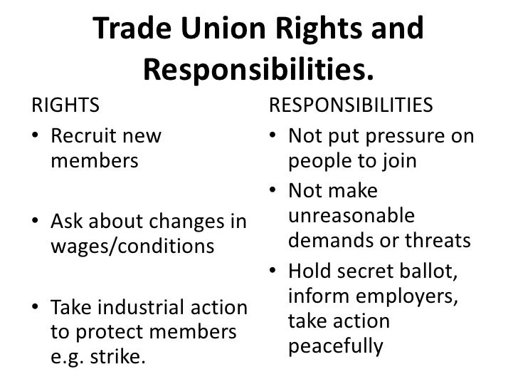 Trade Union Rights and Responsibilities.<br />RIGHTS<br />Recruit new members<br />Ask about changes in wages/conditions<b...