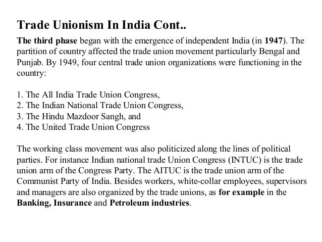 trade union movement in india Measures to strengthen trade union movement in india the following are some of the measures to minimise trade union problems and to strengthen the trade union.