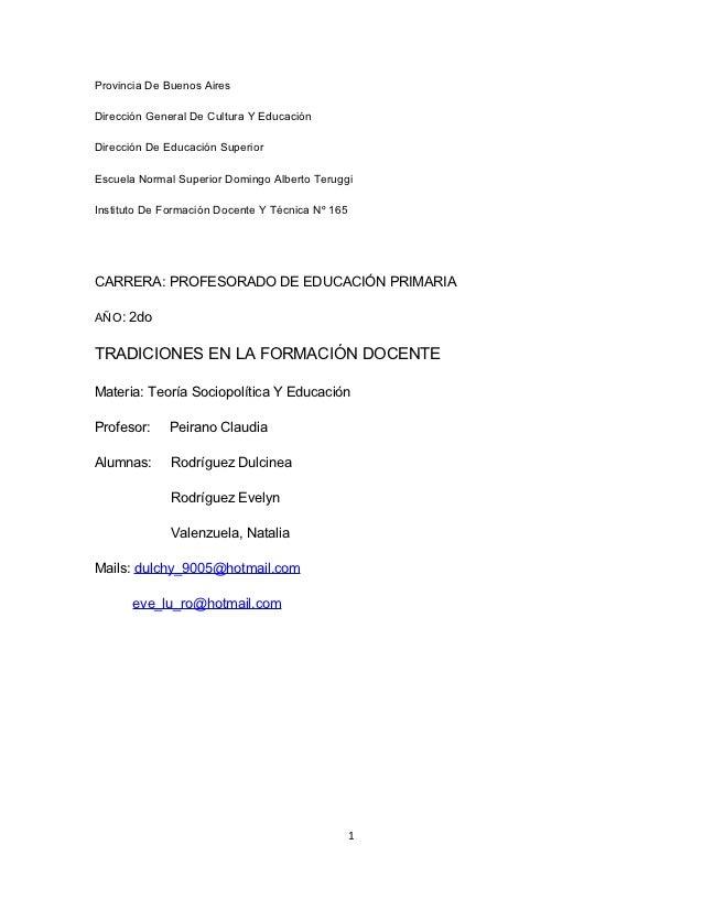 Provincia De Buenos AiresDirección General De Cultura Y EducaciónDirección De Educación SuperiorEscuela Normal Superior Do...