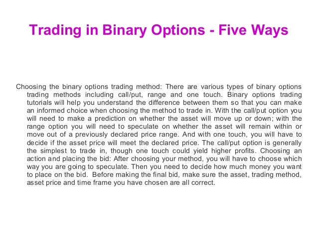 Types of binary options trading