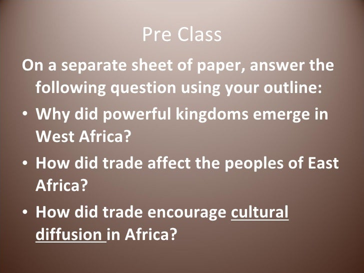 Pre Class <ul><li>On a separate sheet of paper, answer the following question using your outline: </li></ul><ul><li>Why di...