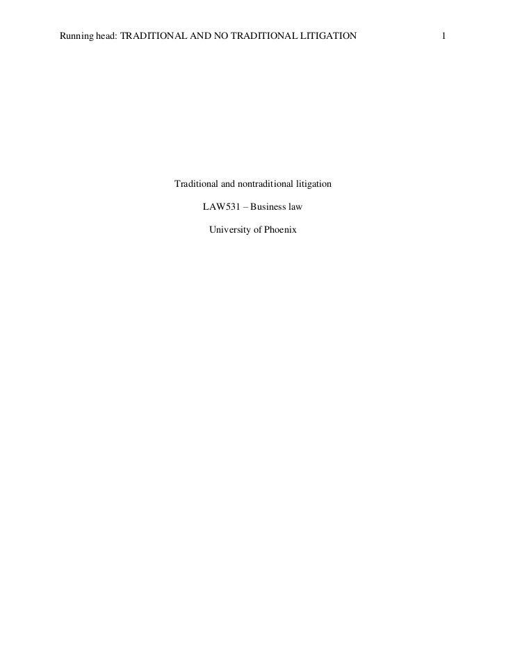 Traditional and nontradicional litigation