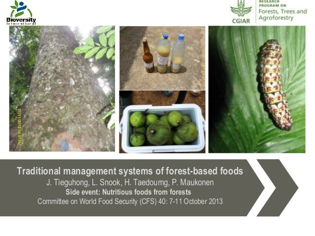 Traditional management systems of forest-based foods J. Tieguhong, L. Snook, H. Taedoumg, P. Maukonen Side event: Nutritio...
