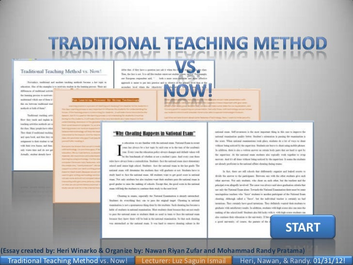 thesis on traditional teaching Most writing teachers agree that the thesis occupies a very important position, both in our student papers and in our teaching we also agree that students tend to.