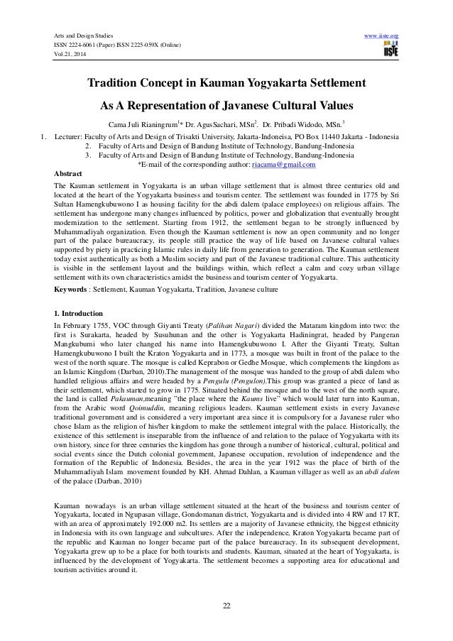 Arts and Design Studies www.iiste.org ISSN 2224-6061 (Paper) ISSN 2225-059X (Online) Vol.21, 2014 22 Tradition Concept in ...