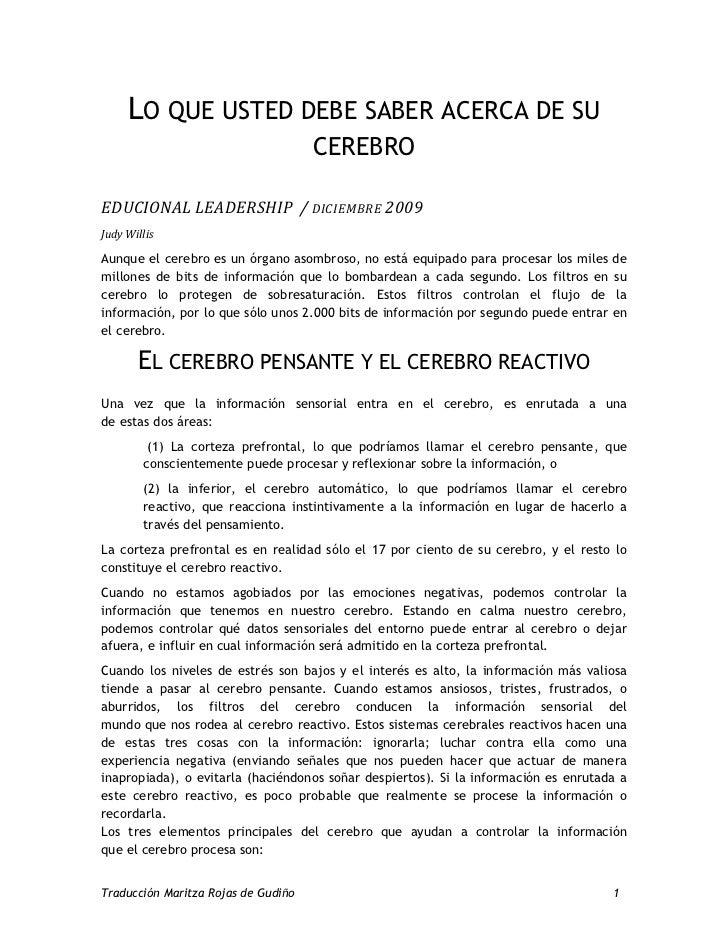 LO QUE USTED DEBE SABER ACERCA DE SU                                     CEREBROEDUCIONAL LEADERSHIP / DICIEMBRE 2009Judy ...