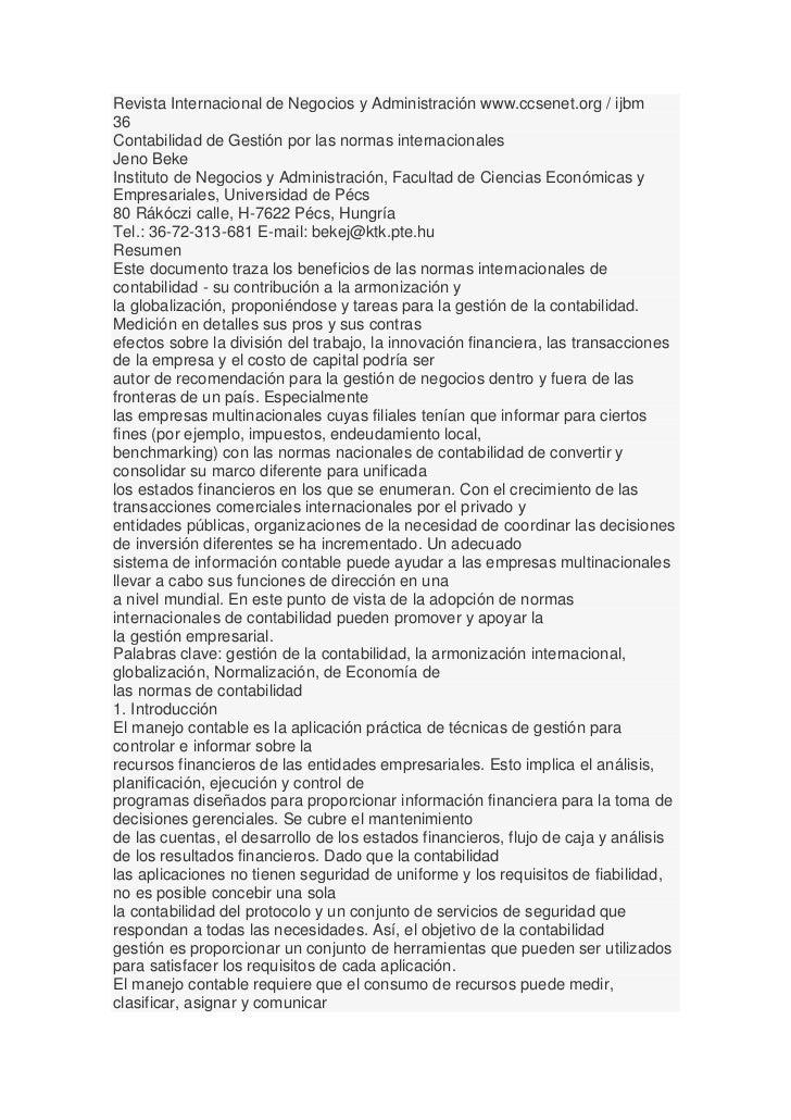 Revista Internacional de Negocios y Administración www.ccsenet.org / ijbm36Contabilidad de Gestión por las normas internac...
