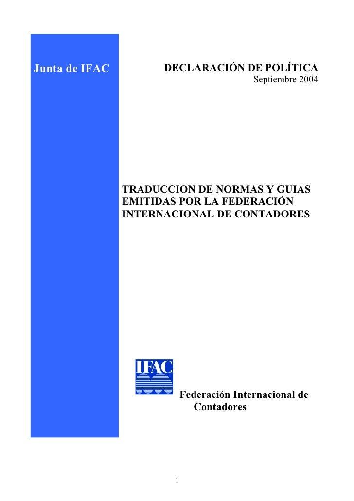 Junta de IFAC         DECLARACIÓN DE POLÍTICA                                           Septiembre 2004                   ...