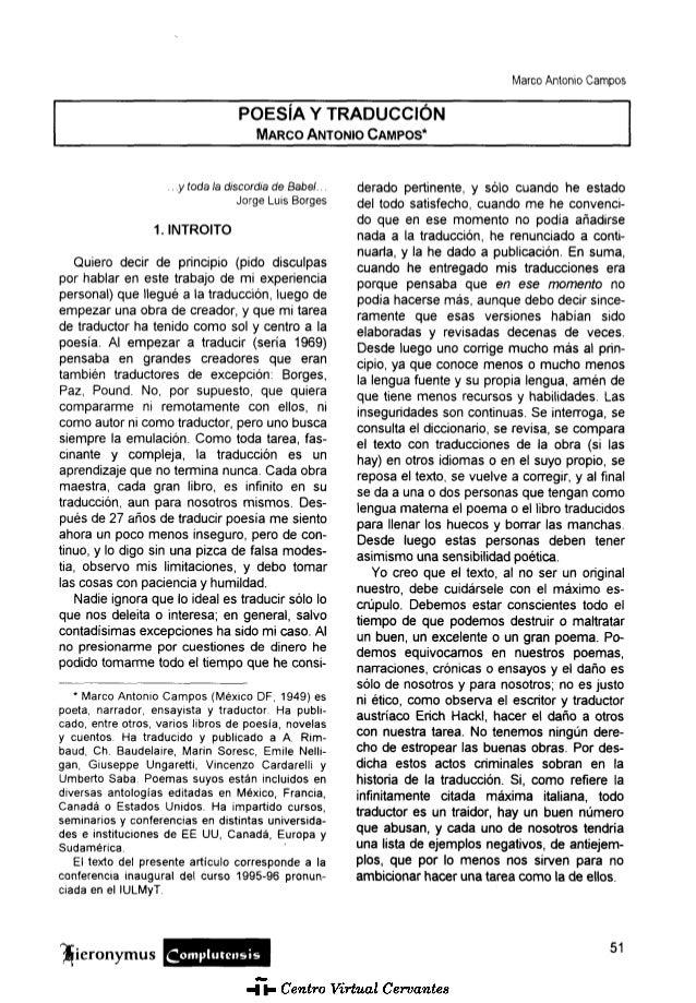 Marco Antonio Campos  POESÍA Y TRADUCCIÓN MARCO ANTONIO CAMPOS*  .. y toda la discordia de Babel... Jorge Luis Borges  1. ...