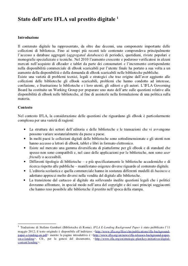 Stato dell'arte IFLA sul prestito digitale