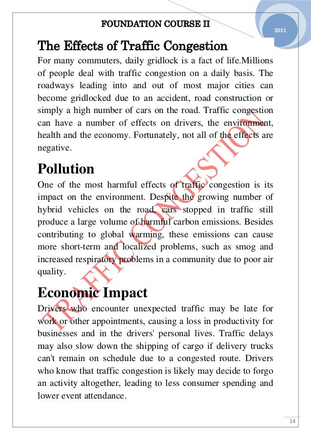 traffic disadvantages essay