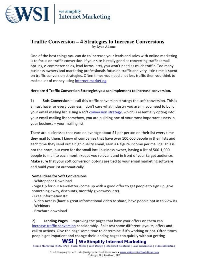 Traffic Conversion – 4 Strategies to Increase Conversions                                                   by Ryan AdamsO...