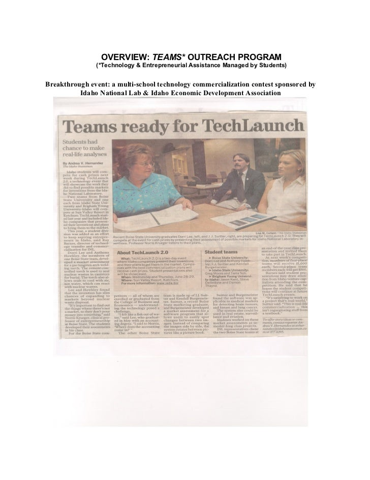 OVERVIEW: TEAMS* OUTREACH PROGRAM               (*Technology & Entrepreneurial Assistance Managed by Students)Breakthrough...