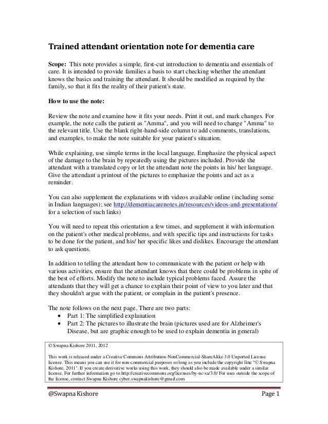 @Swapna Kishore Page 1 Trained attendant orientation note for dementia care Scope: This note provides a simple, first-cut ...