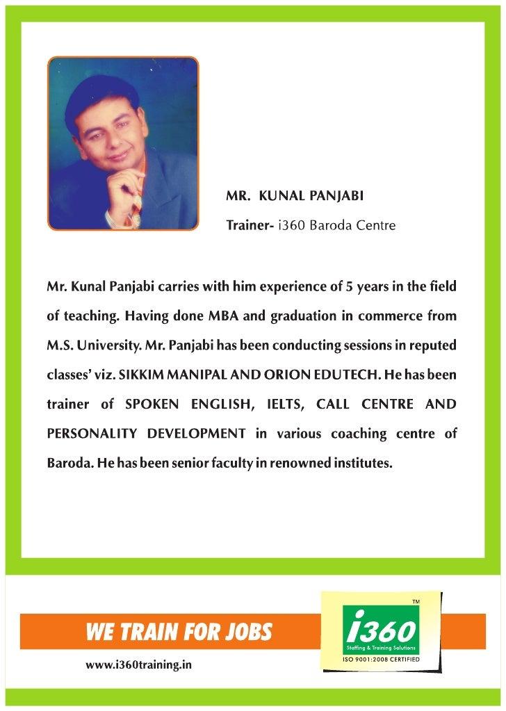 I360 Trainer profile Mr. Kunal