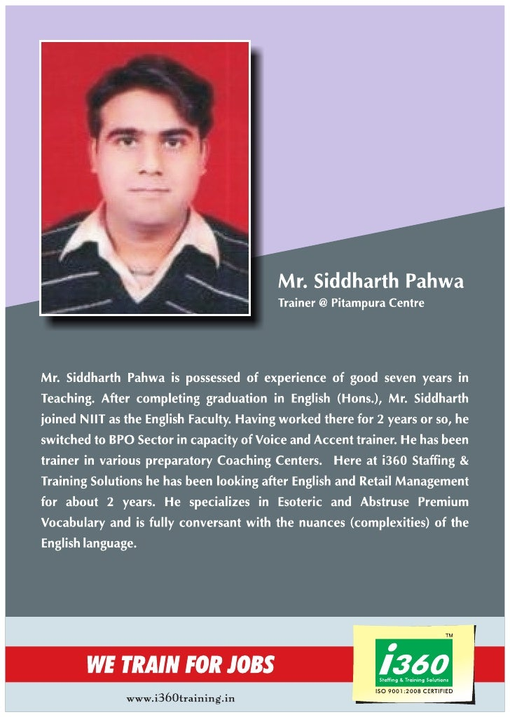 I360 Trainer profile  Mr. Siddharth Pahwa
