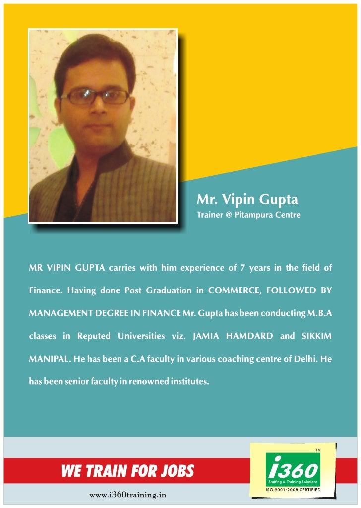 I360 Trainer profile  Mr. Vipin Gupta