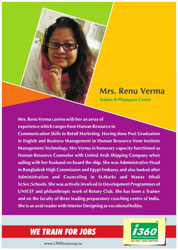 I360 Trainer profile Mrs. Renu Verma