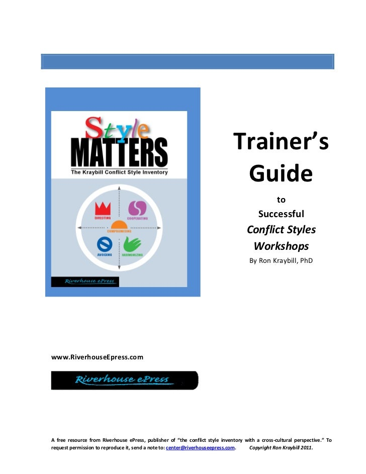 A Trainers' Guide to Successful Conflict Styles Workshops