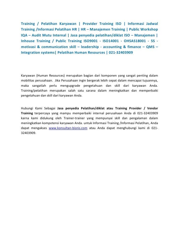 Training / Pelatihan Karyawan   Provider Training ISO   Informasi Jadwal Training /Informasi Pelatihan HR   HR – Manajemen...