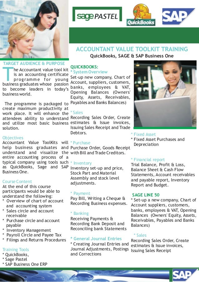 QuickBooks, SAGE & SAP Business One TARGET AUDIENCE & PURPOSE T Objectives Course Content Training Tools he Accountant val...