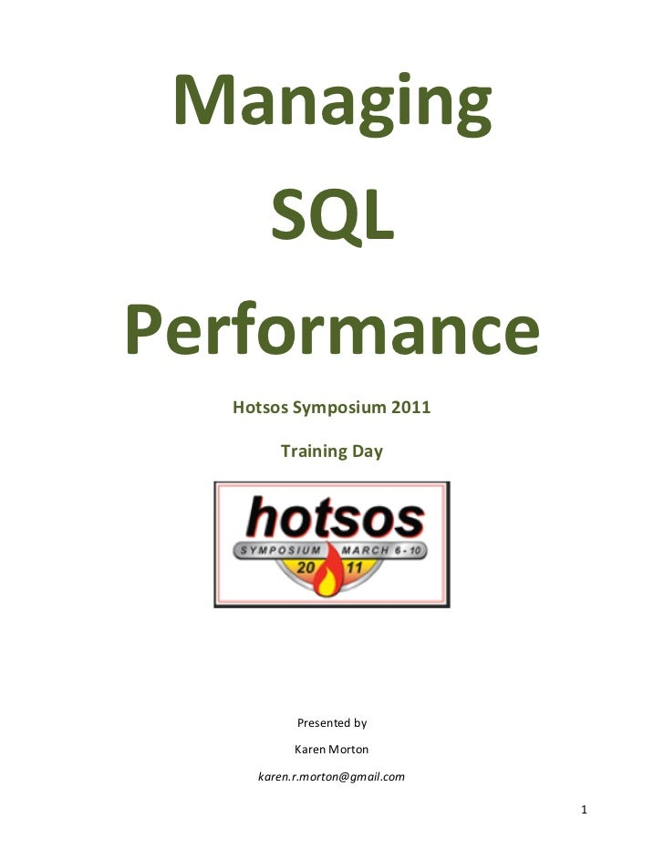 Managing SQL Performance