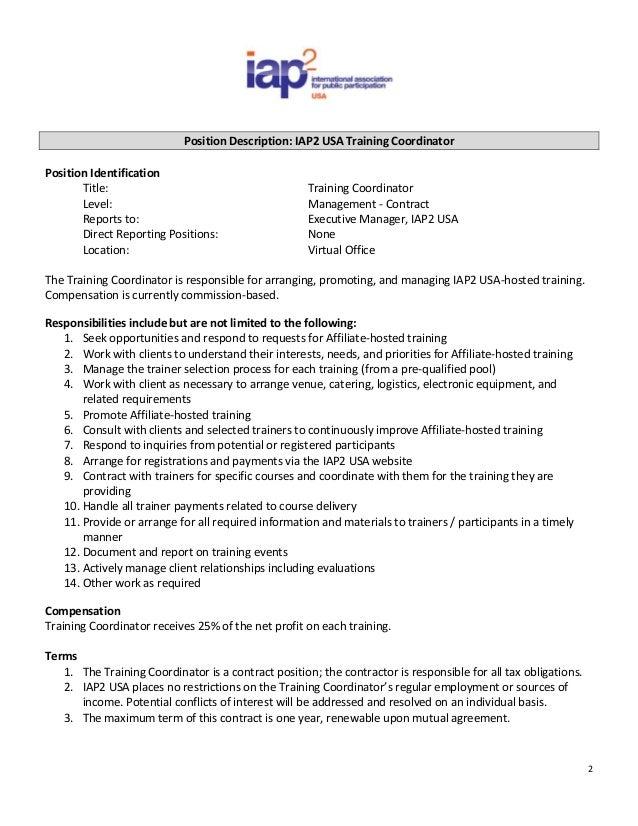 Iap2 Usa Training Coordinator Job Posting