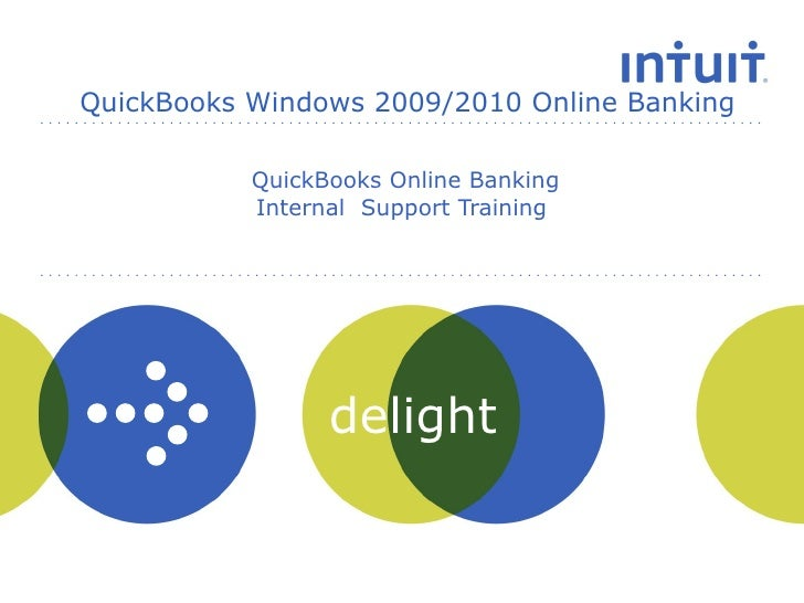 QuickBooks Online Banking Internal  Support Training  QuickBooks Windows 2009/2010 Online Banking