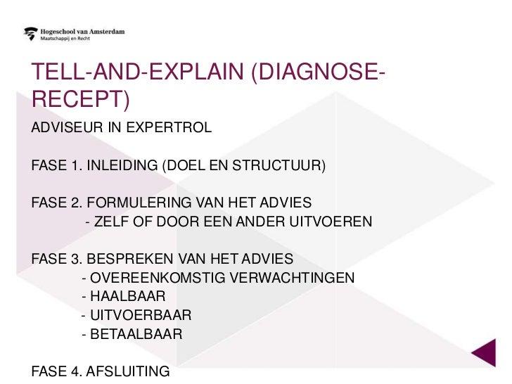 TELL-AND-EXPLAIN (DIAGNOSE-RECEPT)ADVISEUR IN EXPERTROLFASE 1. INLEIDING (DOEL EN STRUCTUUR)FASE 2. FORMULERING VAN HET AD...
