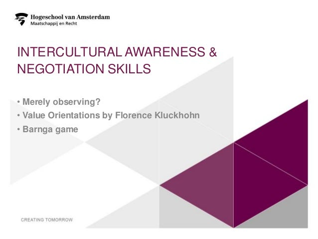 INTERCULTURAL AWARENESS &NEGOTIATION SKILLS• Merely observing?• Value Orientations by Florence Kluckhohn• Barnga game