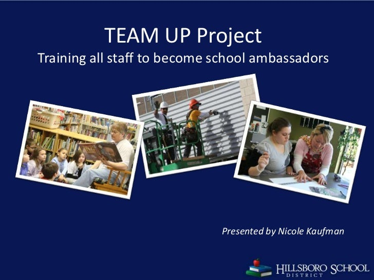 TEAM UP ProjectTraining all staff to become school ambassadors<br />Presented by Nicole Kaufman<br />1<br />